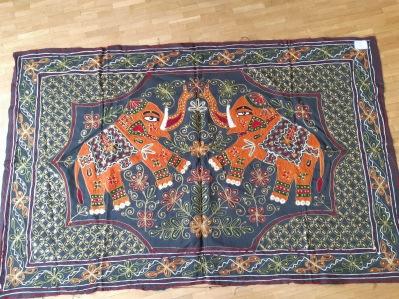 Tissus deux elephant (gris et orange)